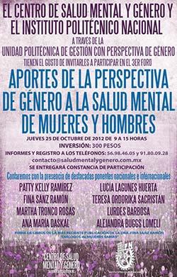 Foro Aportes de la Perspectiva de Género a la Salud Mental de Mujeres y Hombres